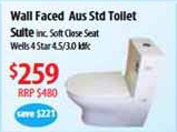 Apollo 004 Wall faced S Trap Toilet Suite With Soft Close Seat