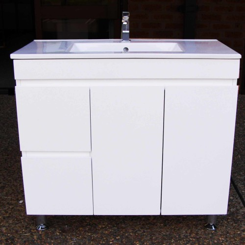 900mm Vanity Unit With Ceramic Basin Finger Pull And On Legs Sydney Bathroom Supply