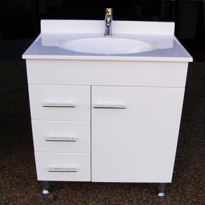 Daedalus Wpl750l 750mm Bathroom Vanity Unit With Australian Made Acrylic Basin On Metal Legs