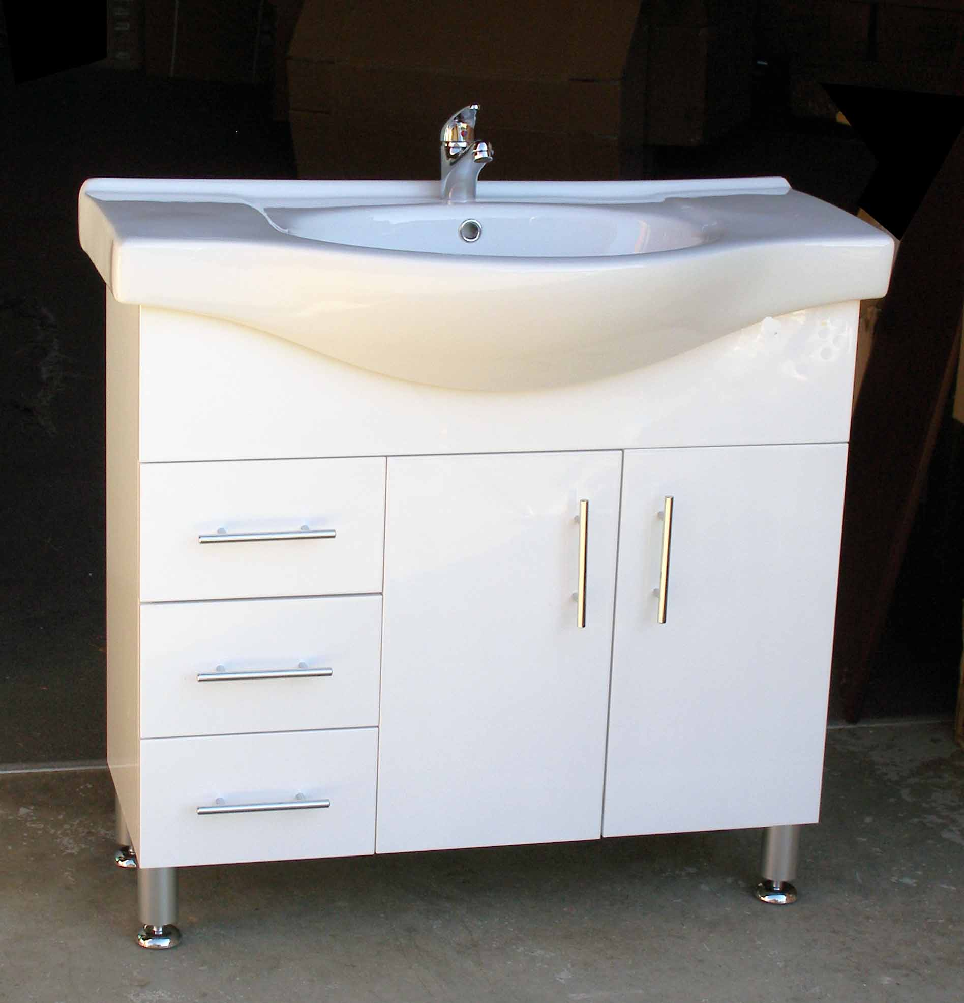 Selene L900l 900mm Semi Recessed Vanity Unit With Left Hand Drawers On Metal Legs Sydney
