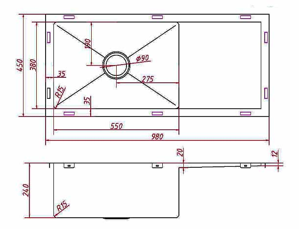 Drop in stainless steel kitchen single bowl with double drainer sink - Square Single Bowl Kitchen Sink With Single Drainer Radius Corners